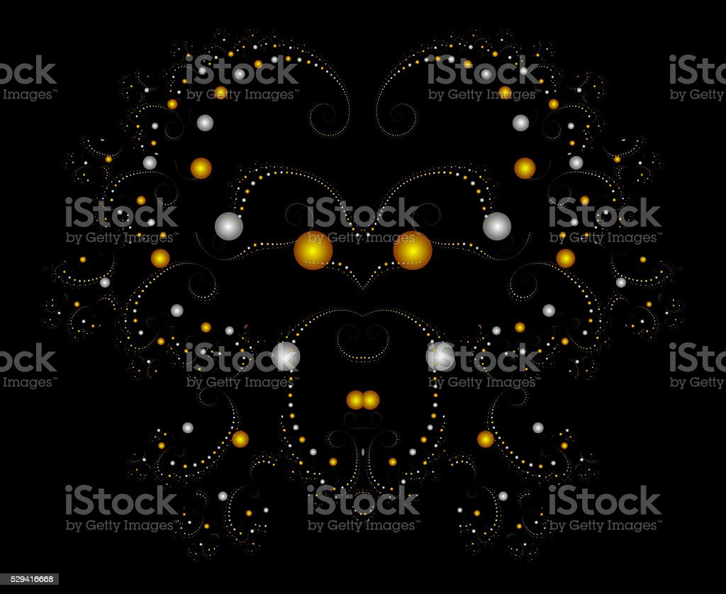 Gold and silver balls make magic trails fractal image stock photo