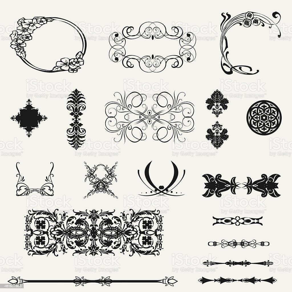 Delicate fine calligraphic design elements royalty-free stock photo
