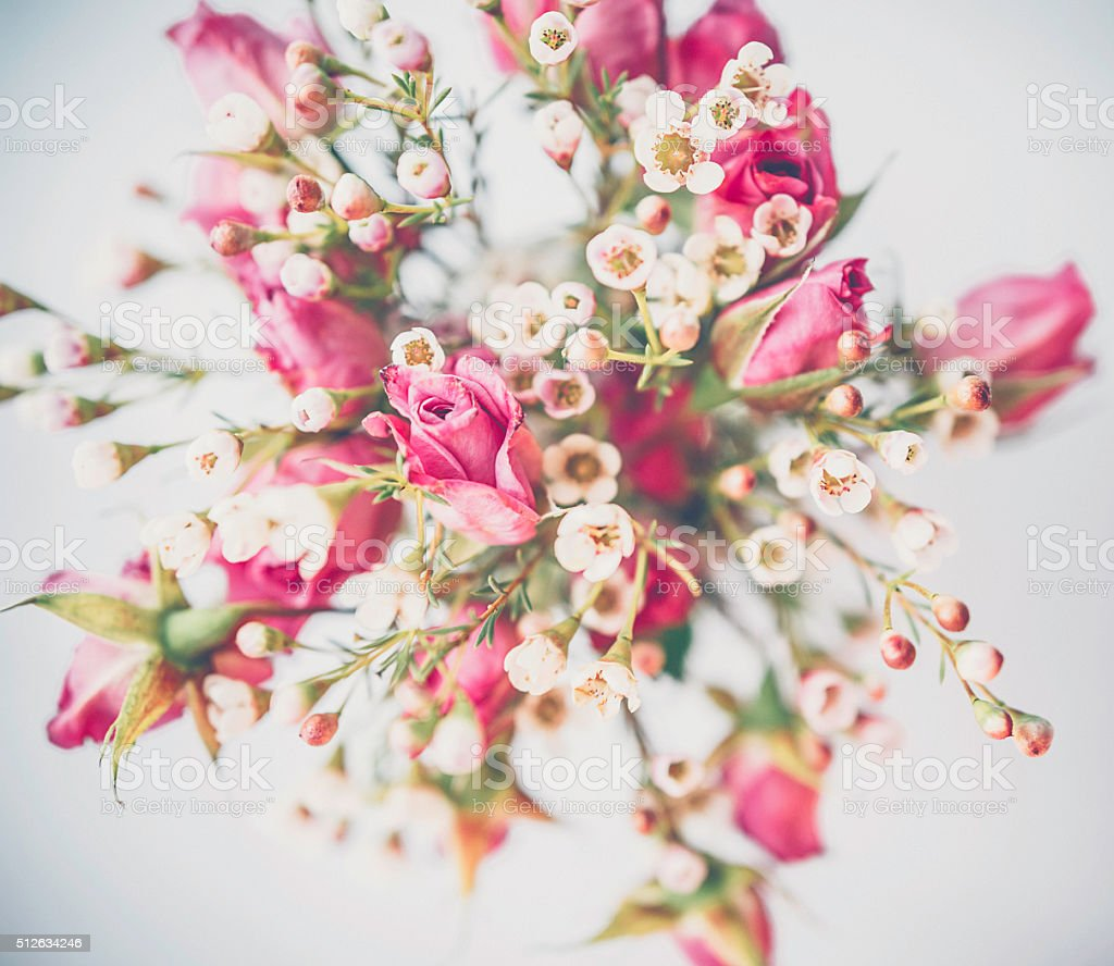 Delicate fresh waxflowers and roses in vase from above stock photo