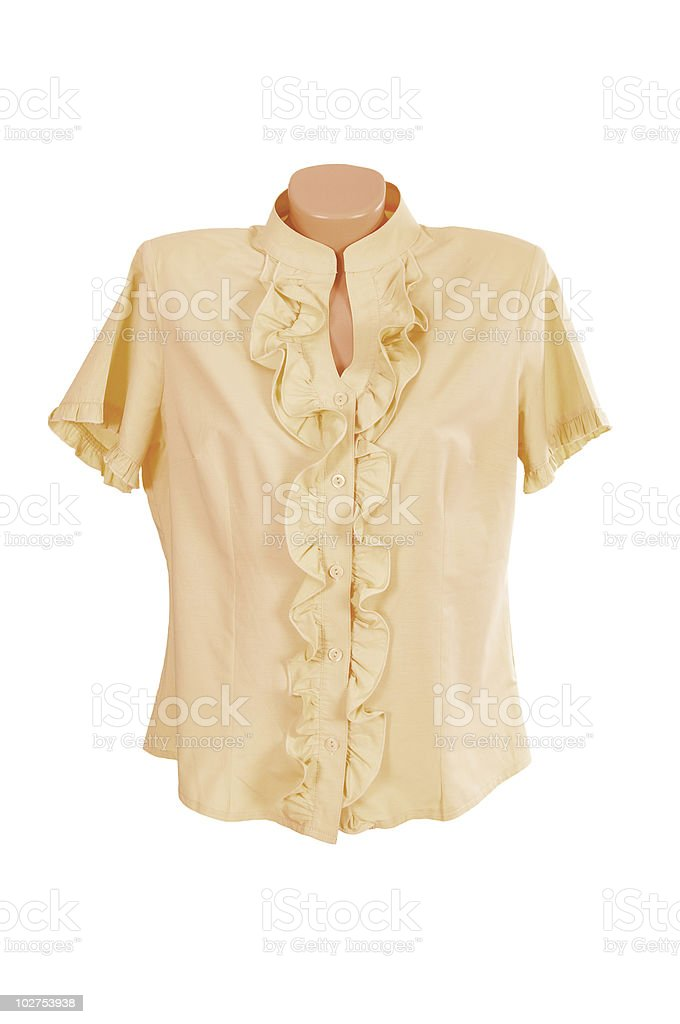 Delicate looking yellow blouse on white backdrop royalty-free stock photo
