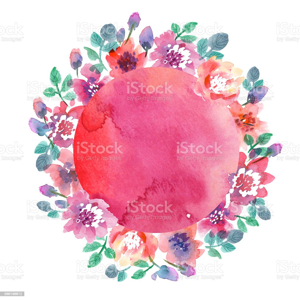 delicate pale color watercolor background. abstract flower frame stock photo