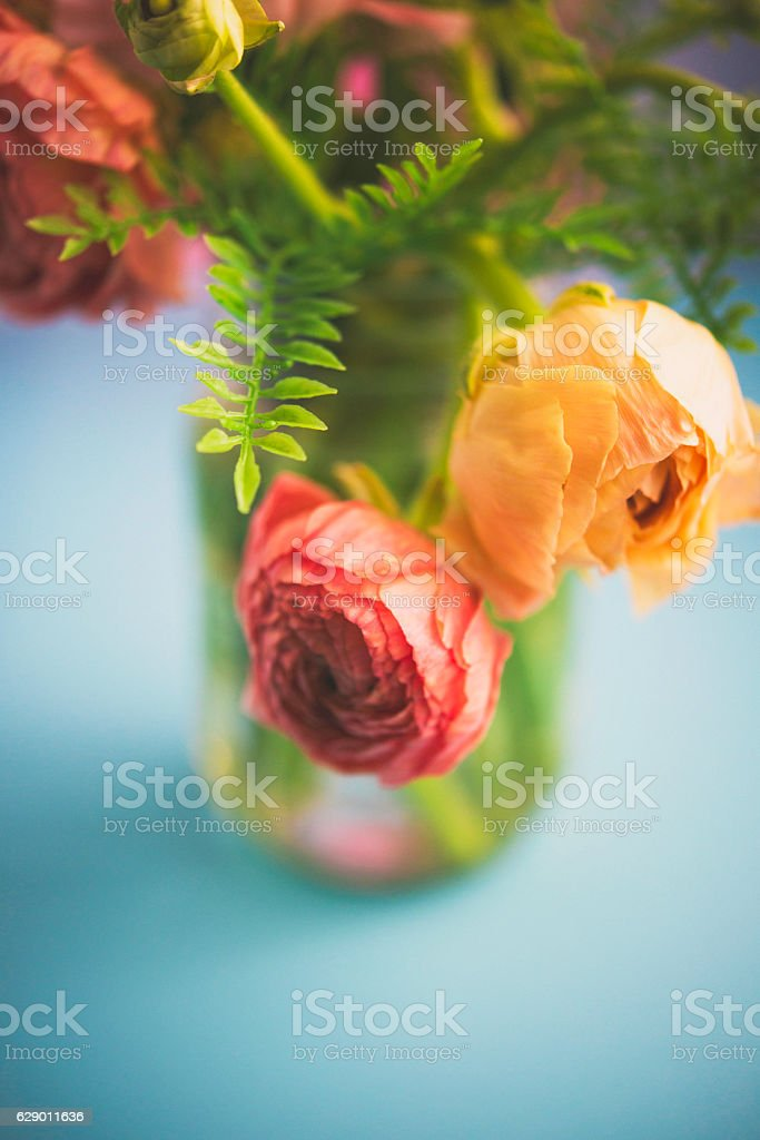 Delicate ranunculus flowers arranged in rustic glass jar stock photo