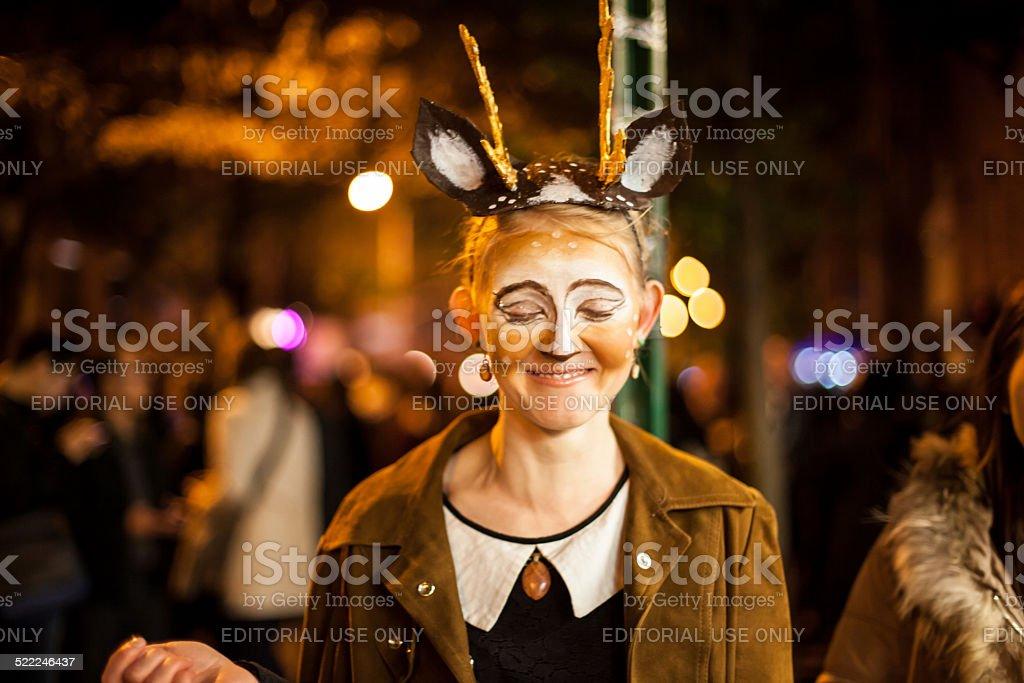 Delicate Reindeer Creature Costume Girl 2014 Halloween NYC stock photo
