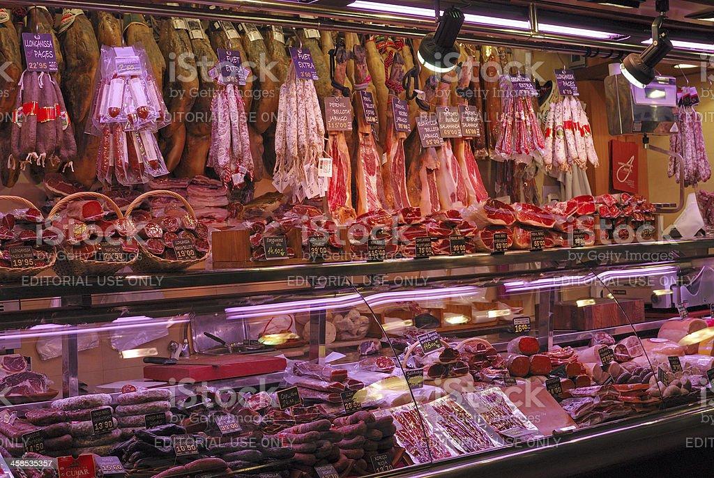 Delicatessen shop in market. Barcelona. Spain stock photo