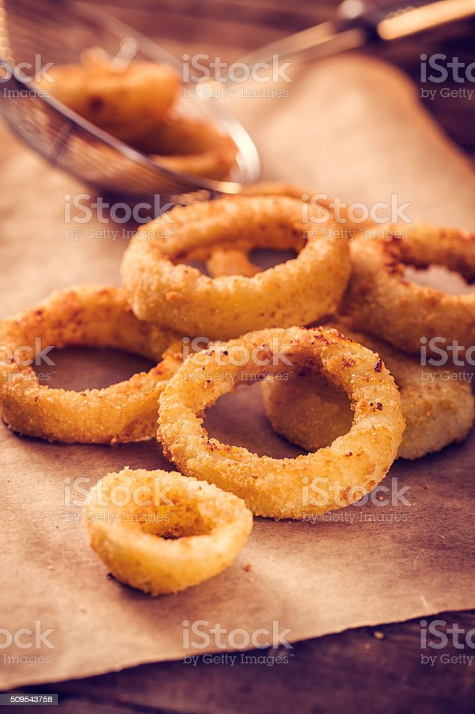 Delicious and Crispy Onion Rings stock photo