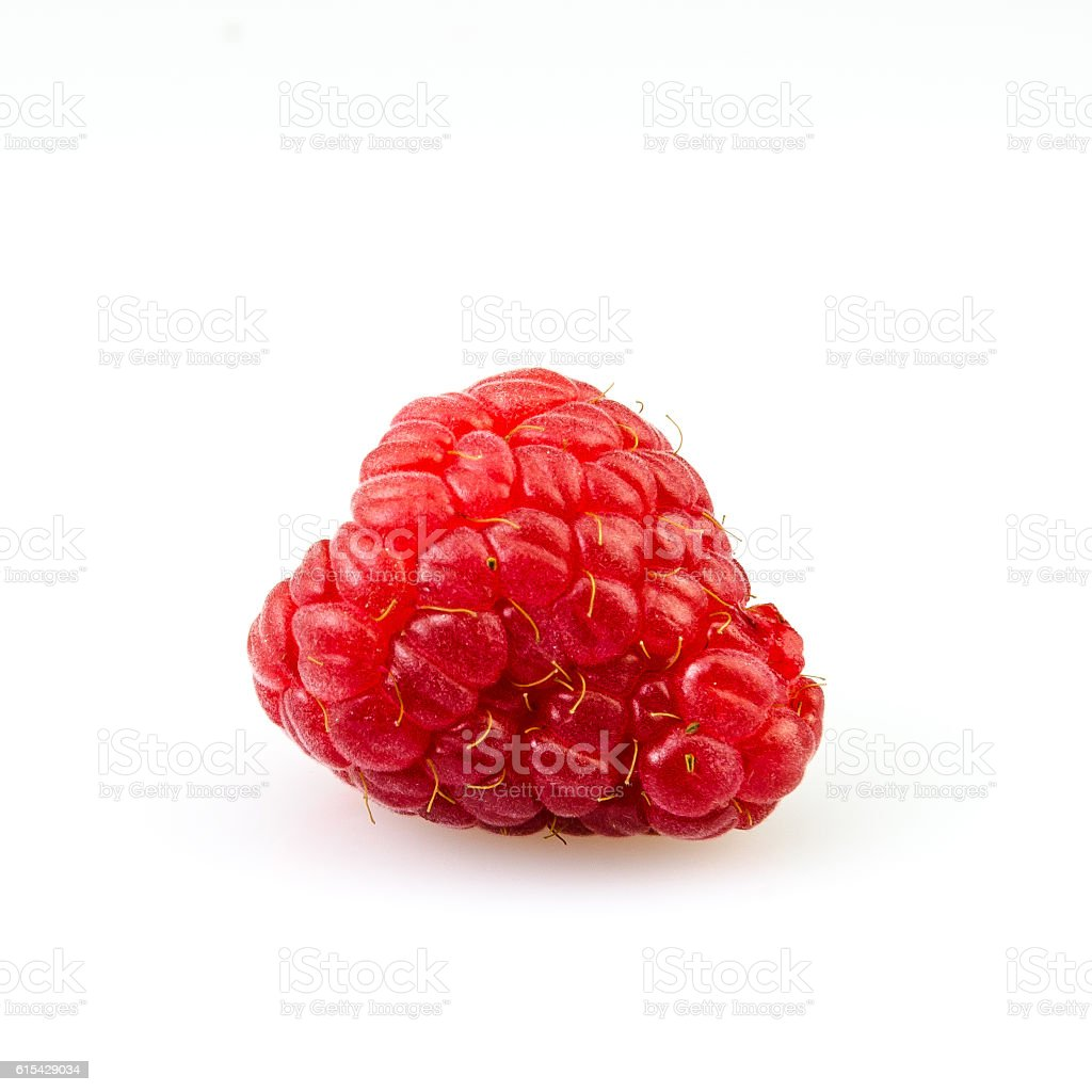 Delicious and fresh red raspberry on white background stock photo