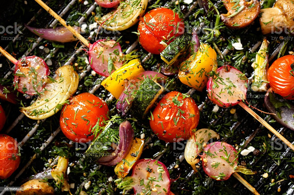 Delicious and healthy vegan skewers stock photo