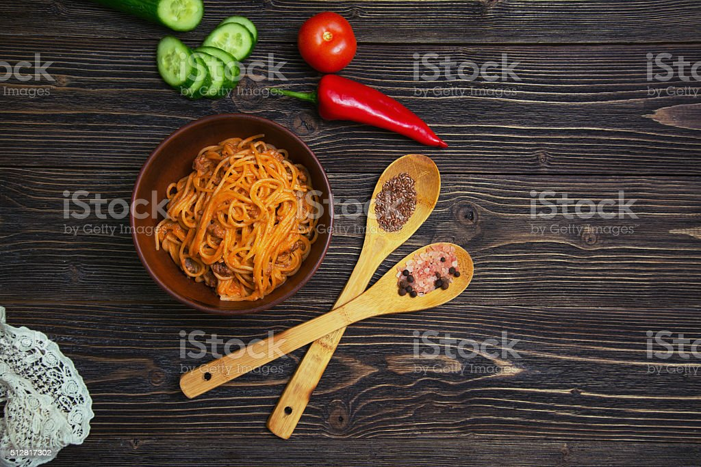 delicious and hearty pasta with ground beef vegetables stock photo