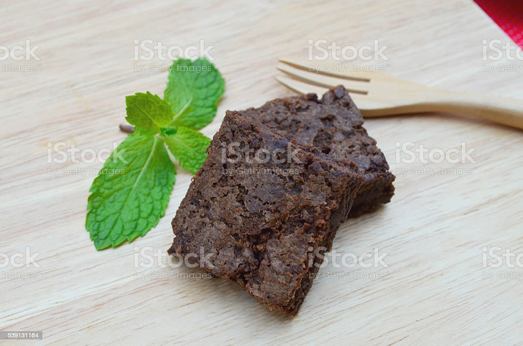 Delicious and soft fresh homemade brownie chocolate stock photo