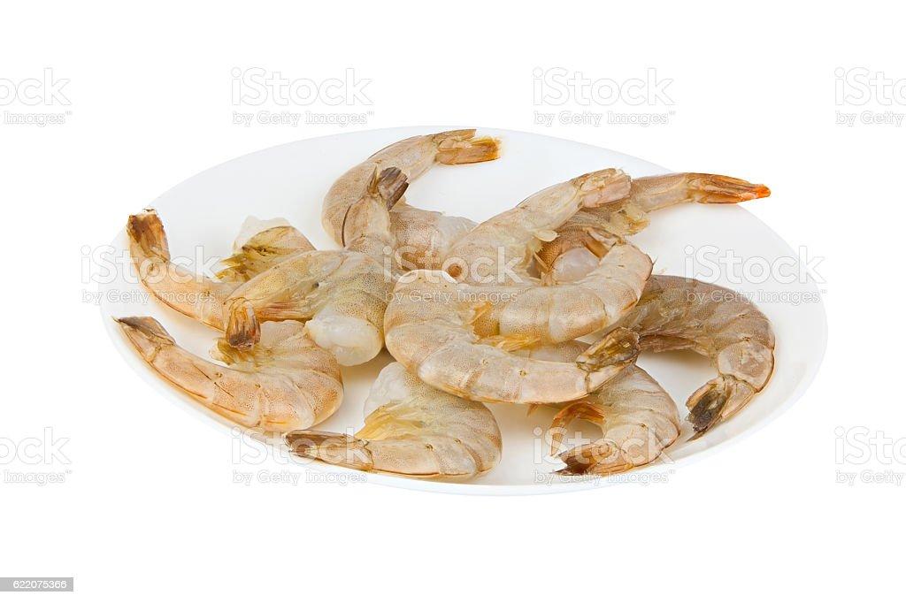 delicious appetizing prawns on white plate on white stock photo
