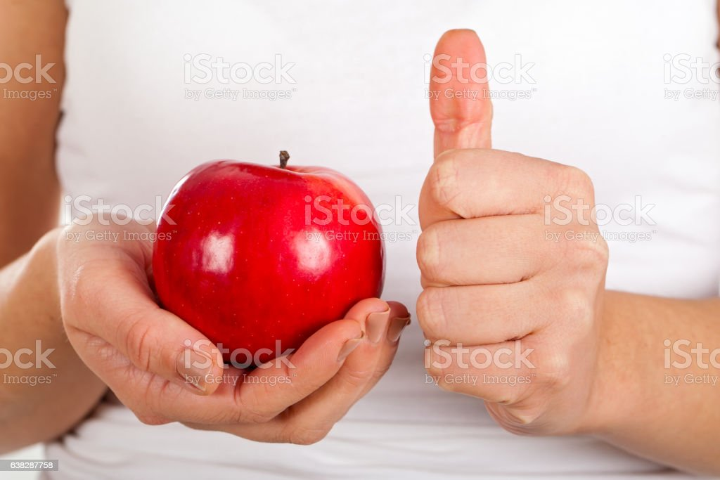 Delicious apple for breakfast stock photo