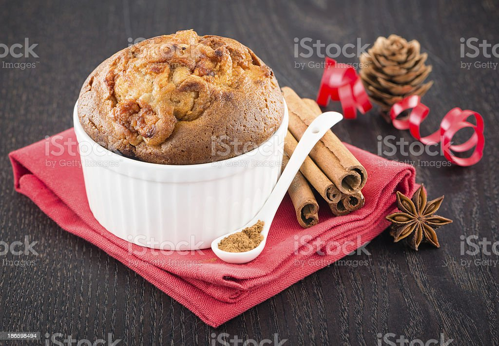 Delicious apple muffins with cinnamon stock photo