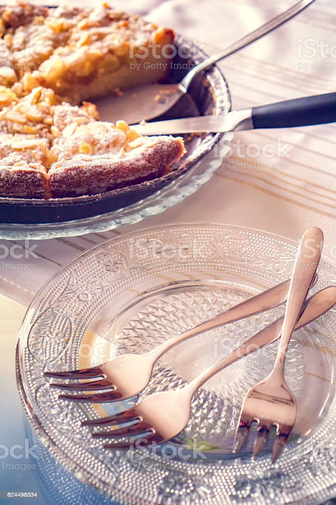 Delicious Apple Pie with Almonds stock photo