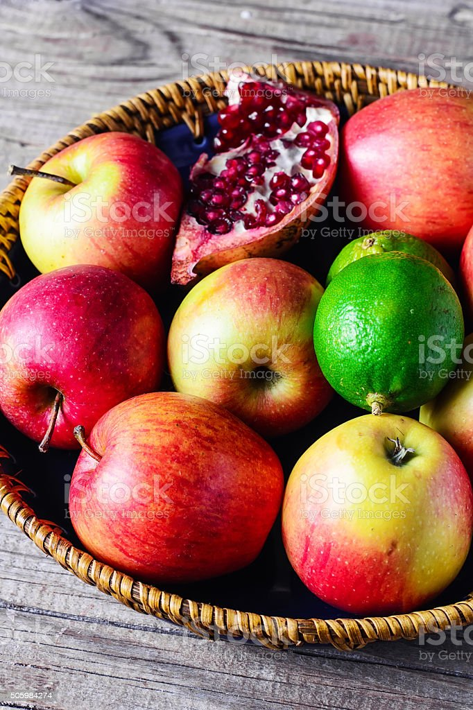Delicious apples on platter stock photo