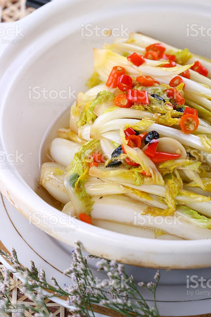Delicious asia food fried dish - Chinese cabbage royalty-free stock photo
