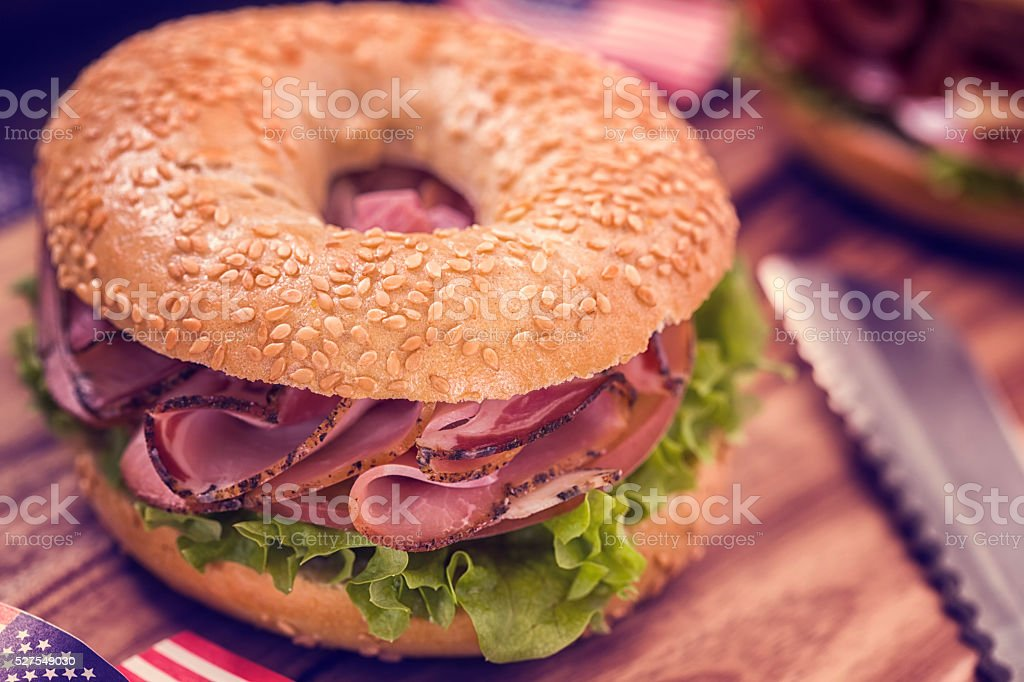 Delicious Bagel Ham Sandwich stock photo