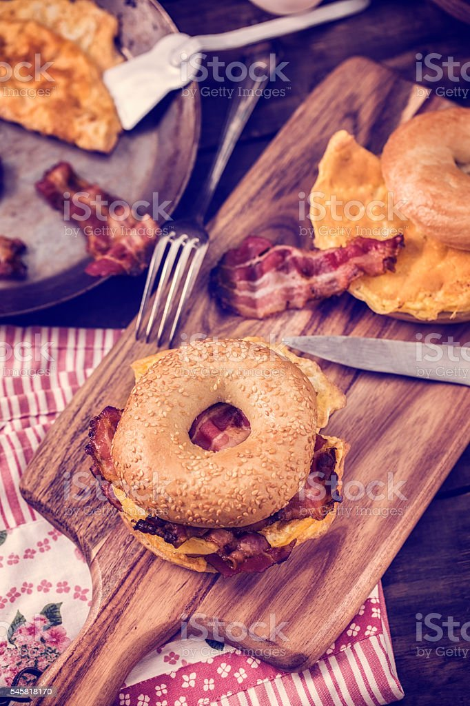 Delicious Bagel Sandwiches stock photo