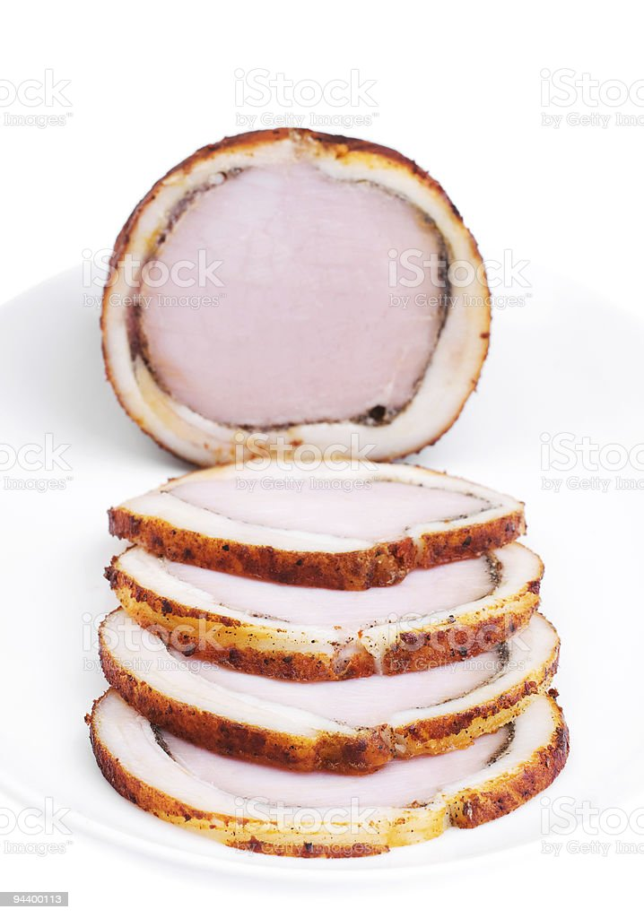 Delicious baked ham with bacon. Bon appetit! stock photo