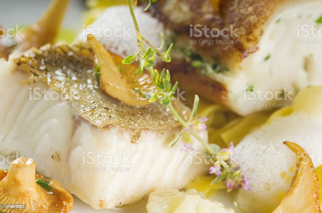 Delicious baked zander fillet - detail. stock photo