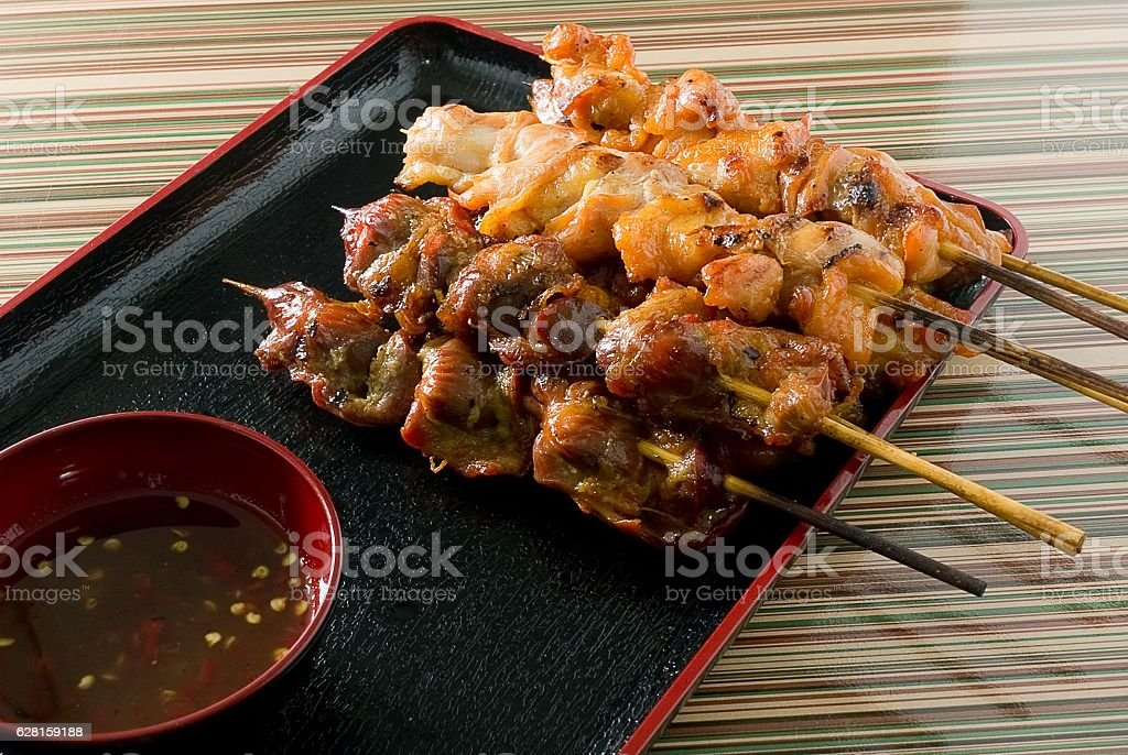 Delicious Barbecue Chicken Grilled Food on A Tray stock photo