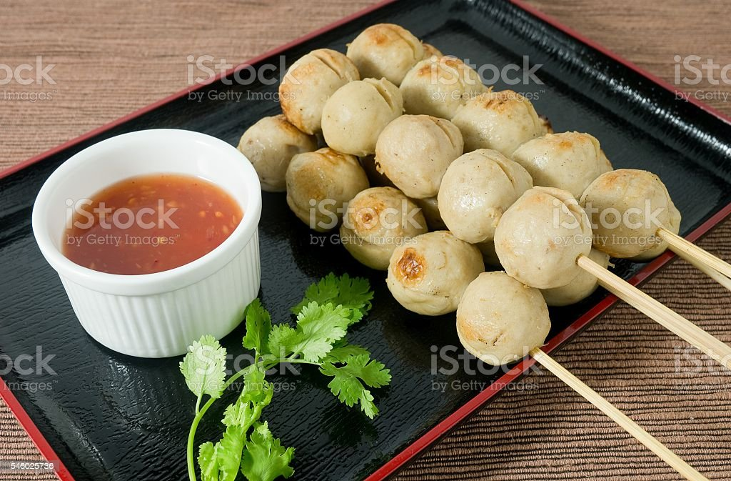 Delicious Barbecue Meat Ball on Bamboo Skewer stock photo