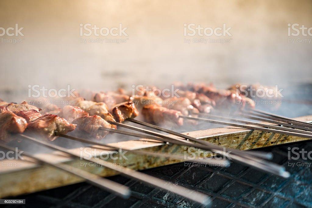Delicious barbecued souvlaki stock photo