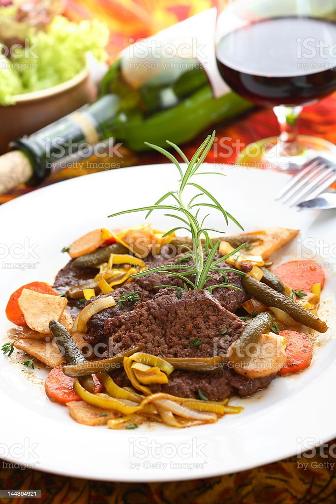 Delicious beef in the wine royalty-free stock photo