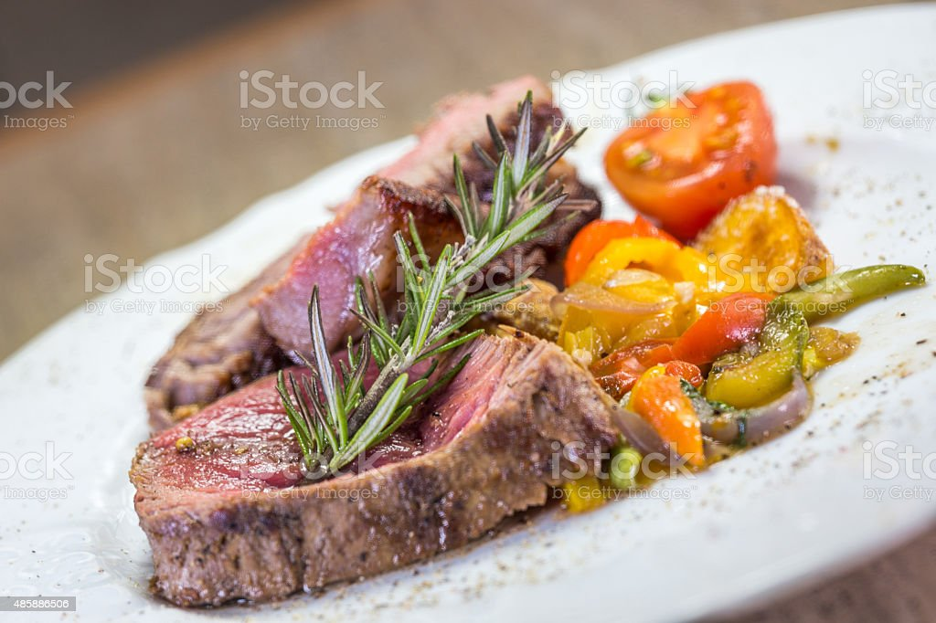 Delicious beef steak with vegetables stock photo