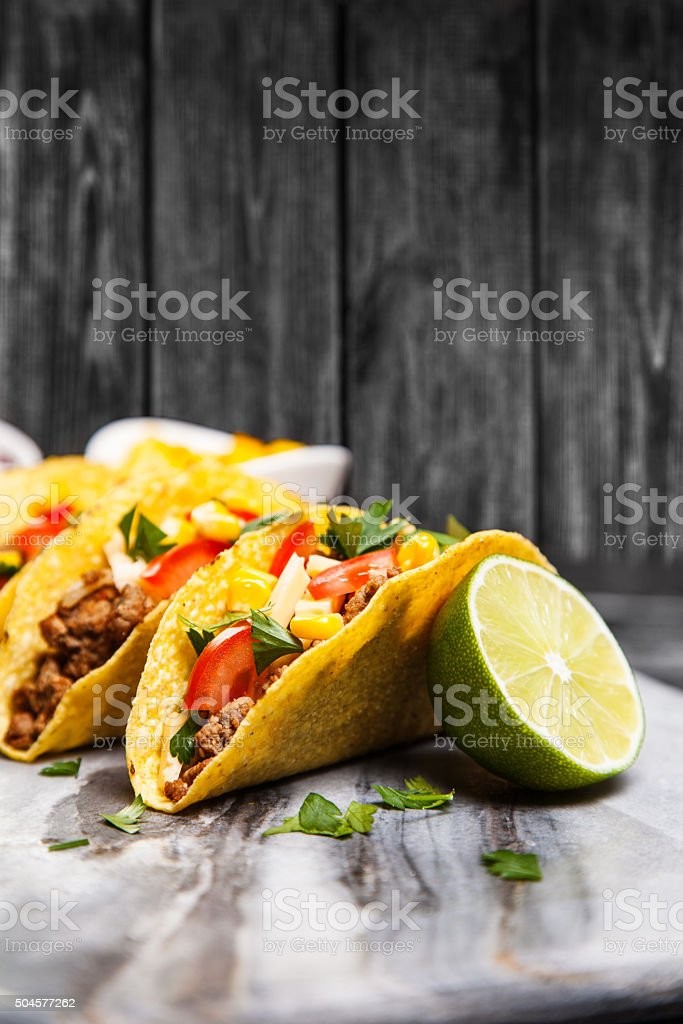 Delicious beef tacos stock photo