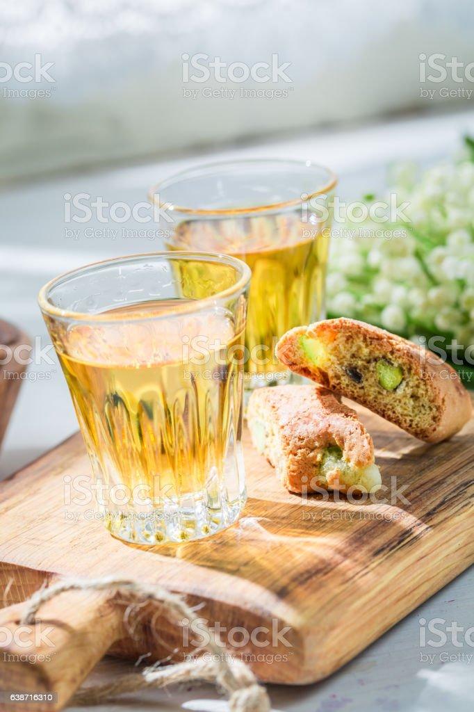 Delicious biscotti with pistachios and Vin Santo wine stock photo