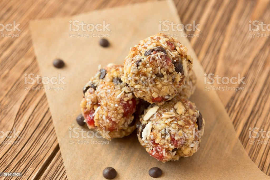 Delicious bites with cherry, cranberry, almond and chocolate stock photo