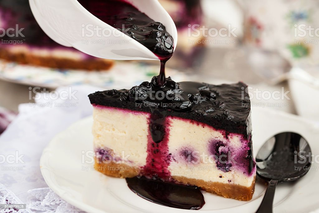 Delicious blueberry cheesecake stock photo