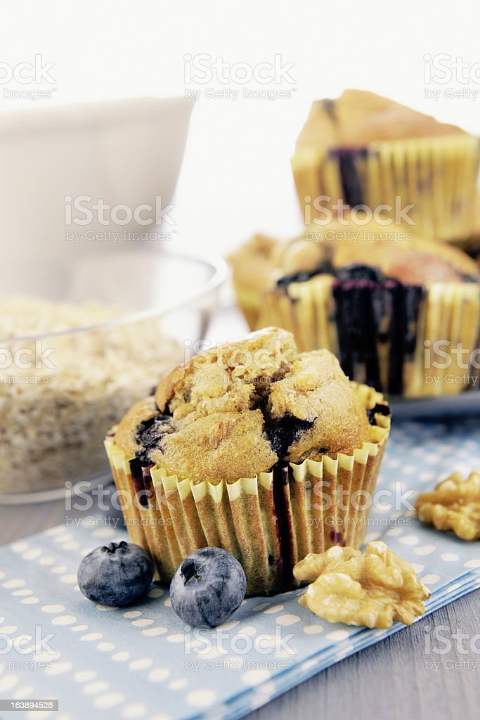 Delicious blueberry, oatmeal and buttermilk muffins royalty-free stock photo