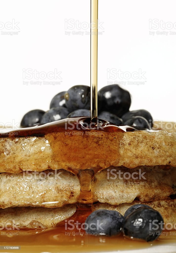 Delicious blueberry waffles stock photo