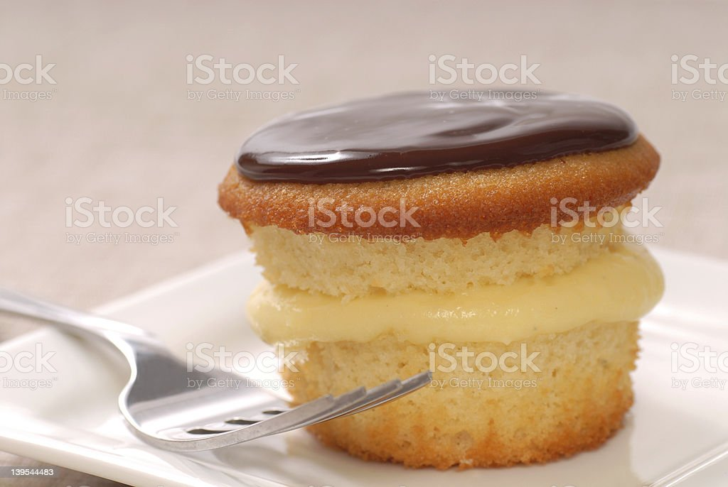 Delicious Boston Cream Cupcake stock photo