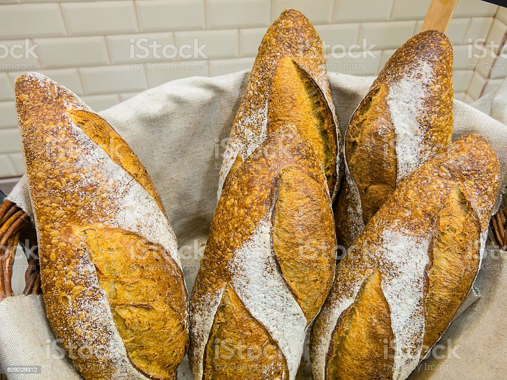 Delicious bread in a basket stock photo