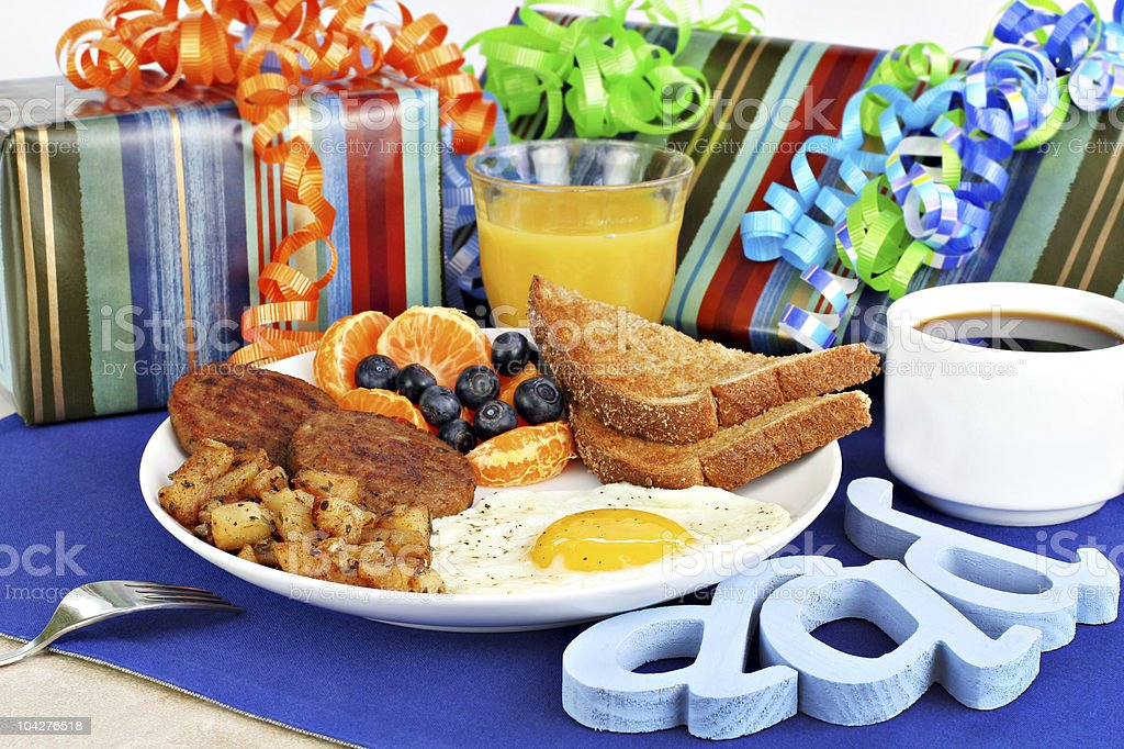 Delicious breakfast for a special dad. stock photo