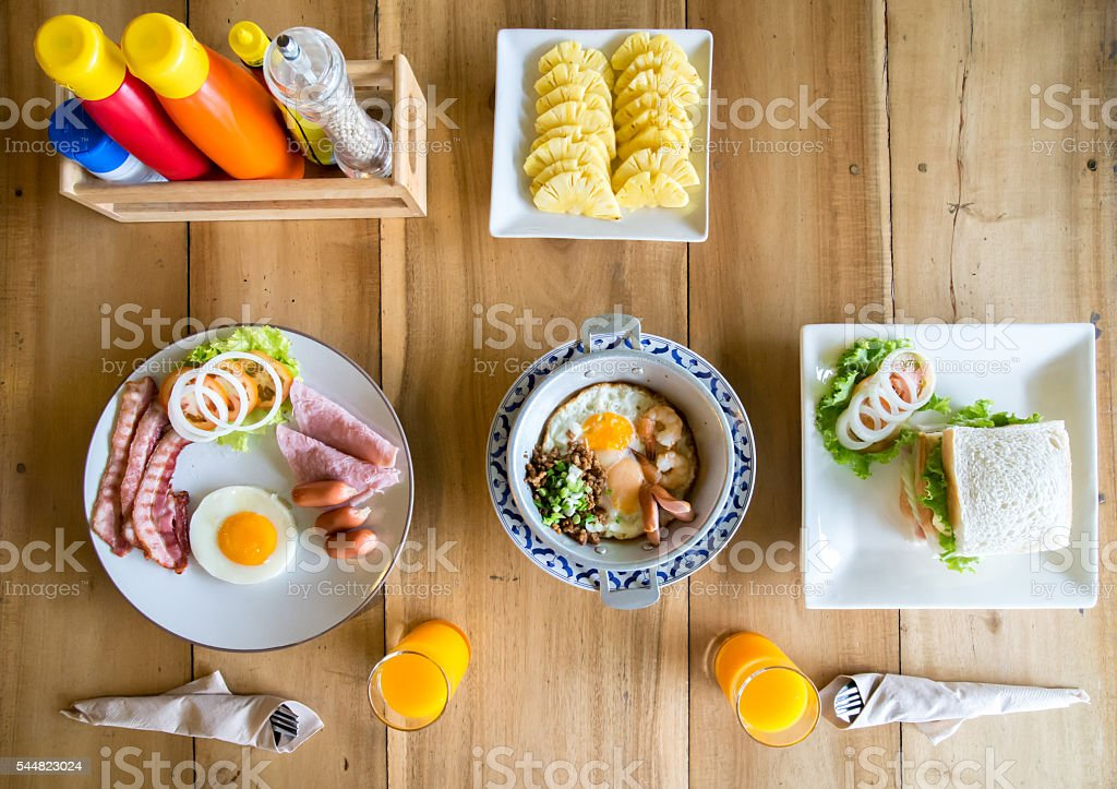 Delicious breakfast for two in the morning. top view stock photo