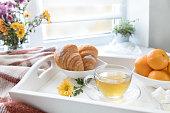 Delicious breakfast in tray