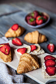delicious breakfast of strawberries and bread