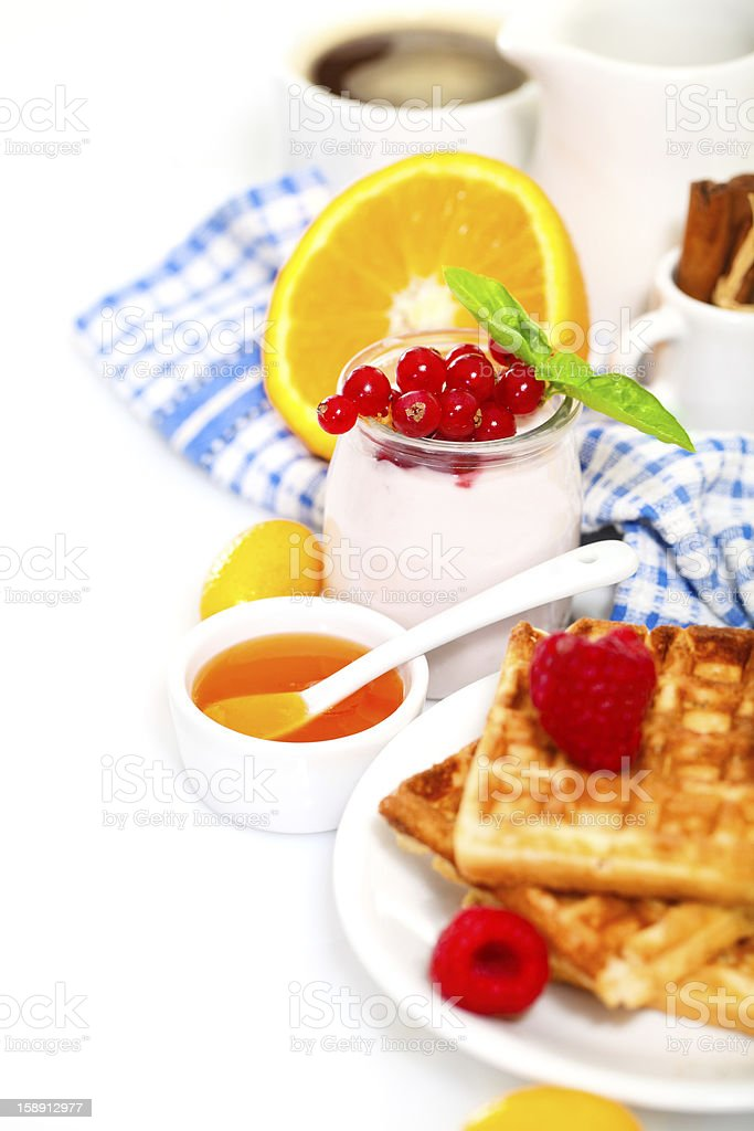 Delicious breakfast with fresh waffles royalty-free stock photo