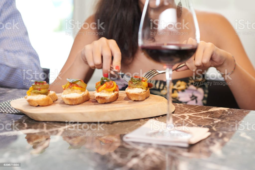 Delicious bruschetta stock photo