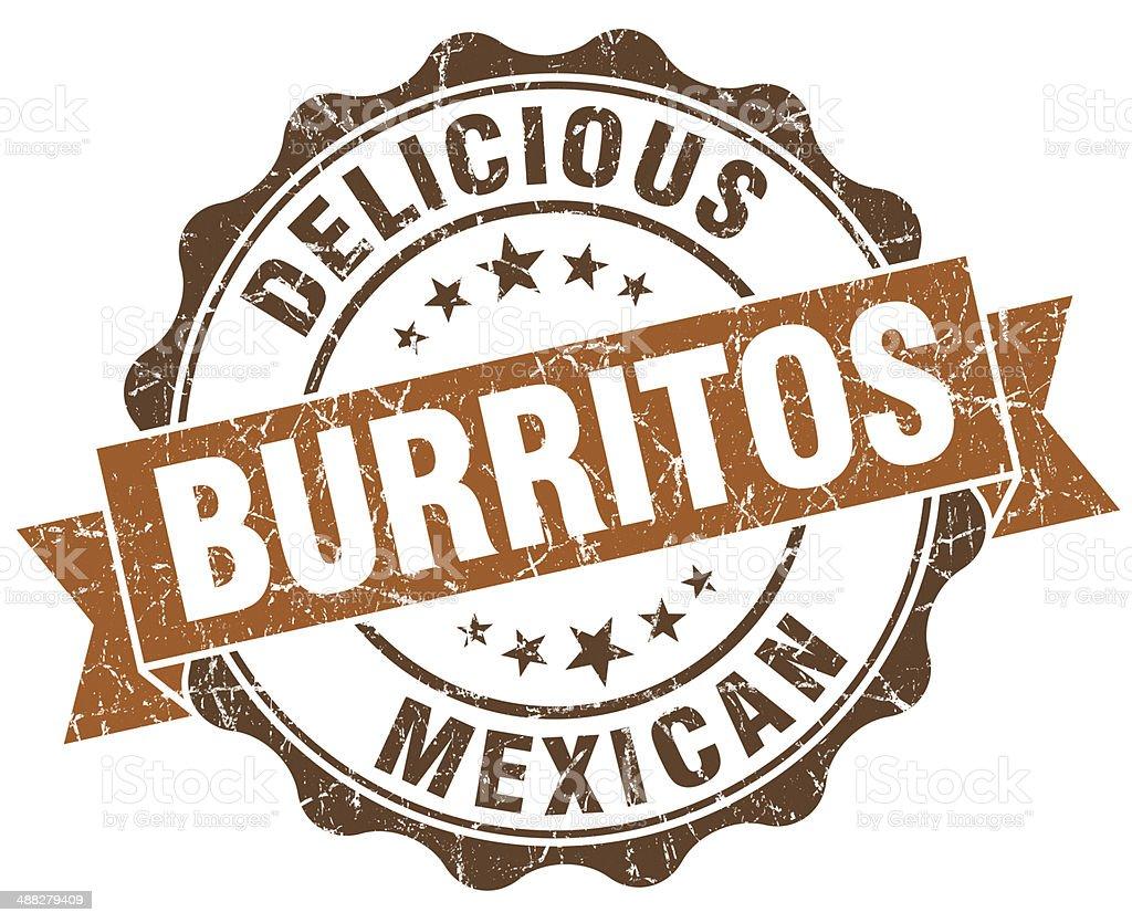 Delicious burritos brown grunge retro vintage isolated seal stock photo