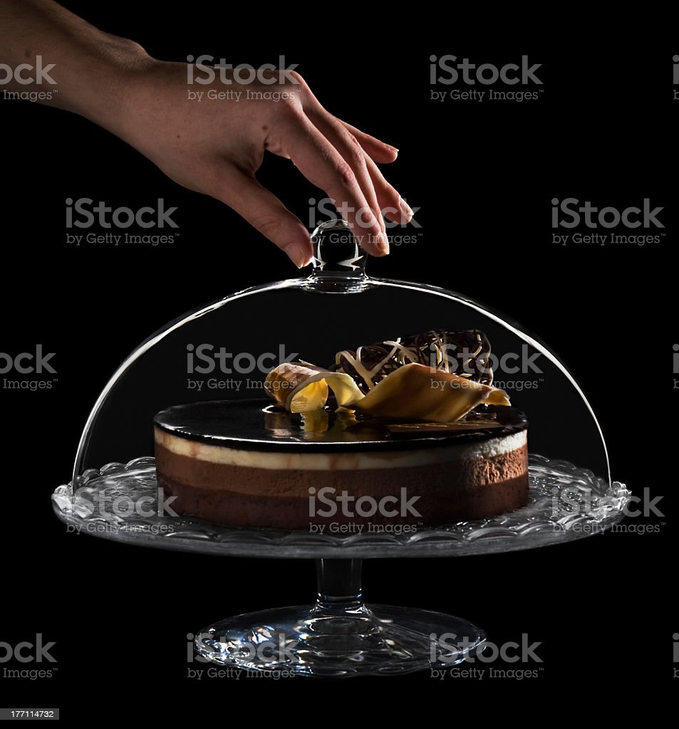 Delicious cake chocolate on a plate. royalty-free stock photo
