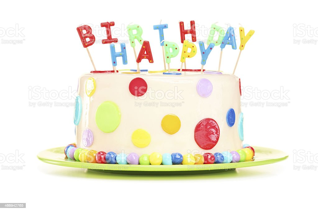 Delicious cake with happy birthday candles royalty-free stock photo