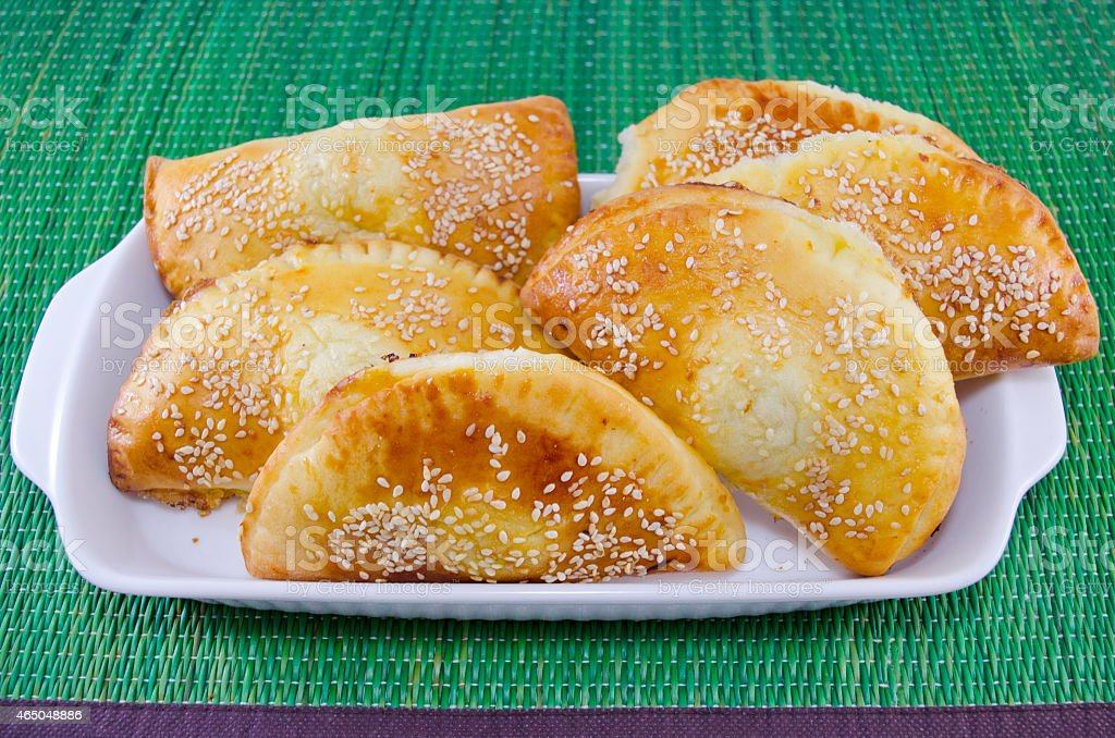 Delicious calzone on a tray royalty-free stock photo