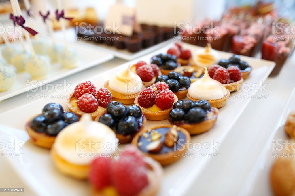 Delicious candy and sweets buffet stock photo