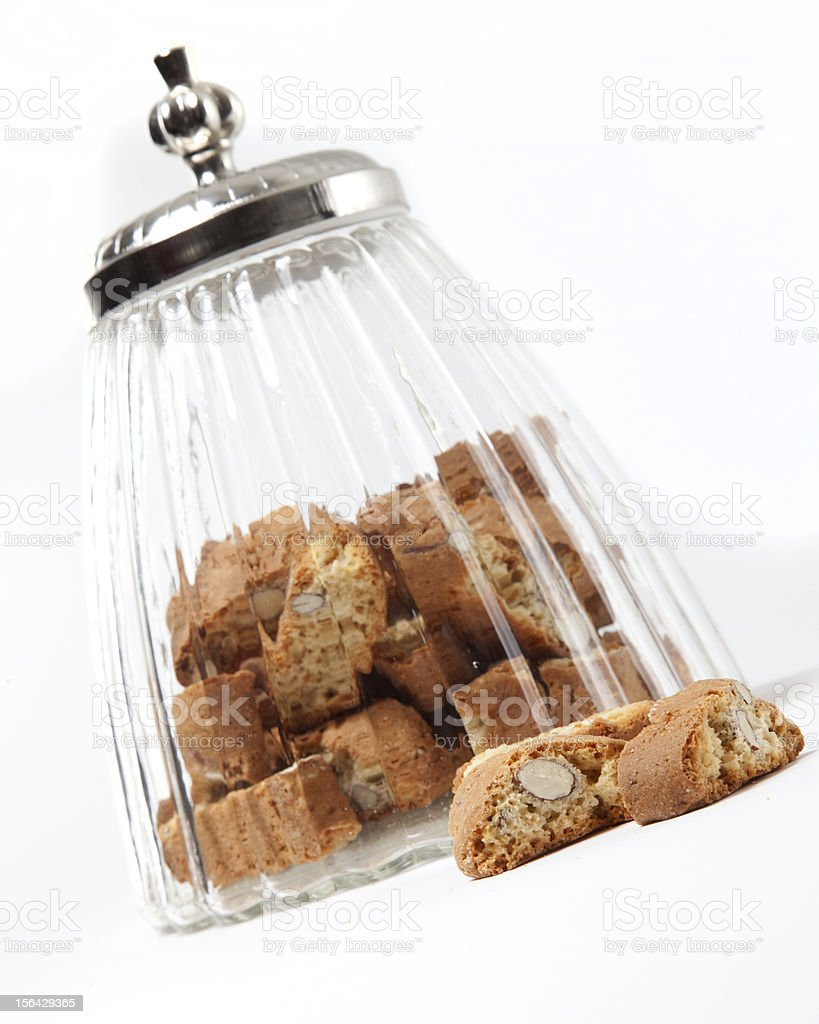 delicious cantuccini from intalian grandma in jar royalty-free stock photo