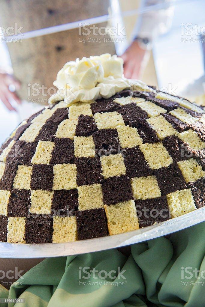 Delicious checkerboard dome cake royalty-free stock photo