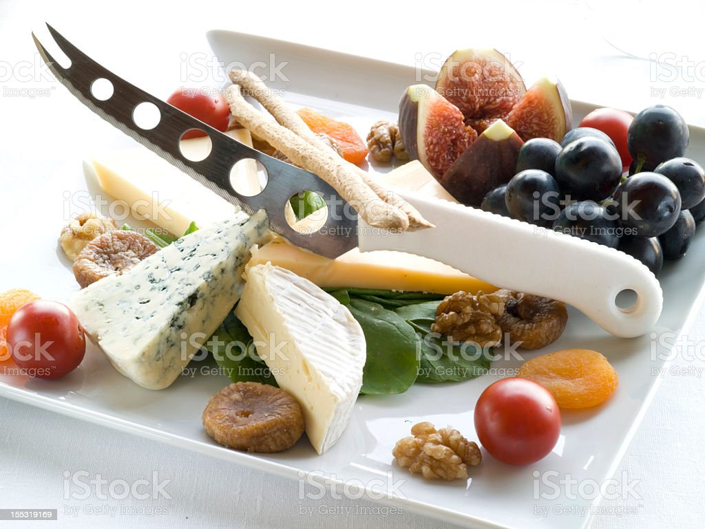 Delicious cheese plate royalty-free stock photo